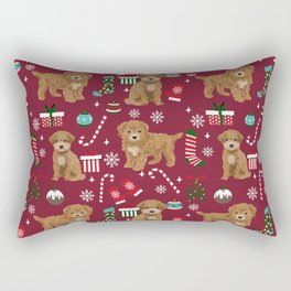Bichpoo christmas dog breed holidays pet gifts pet friendly stockings candy canes snowflakes Rectangular Pillow
