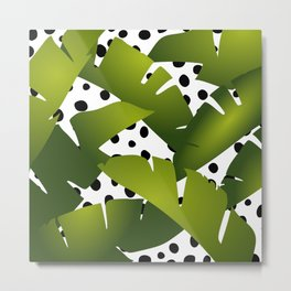 Banana Leaf and Black Dots Metal Print