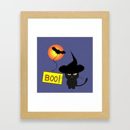 Cute cat trying to be scary for Halloween Framed Art Print