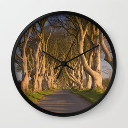 Old trees at the Dark Hedges in Northern Ireland Wall Clock