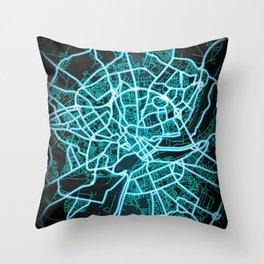Caen, France, Blue, White, Neon, Glow, City, Map Throw Pillow