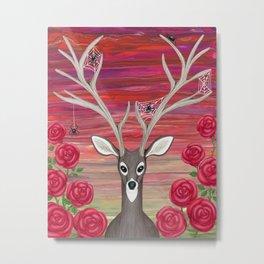 white tailed deer, spiders, roses Metal Print