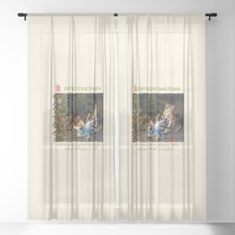 CHRISTMAS GREETINGS for Naughty Cats Sheer Curtain