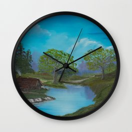 Cabin by stream Wall Clock