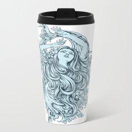 Beautiful Girl with BLUE ROSE Metal Travel Mug