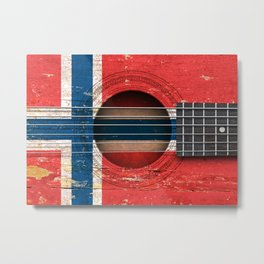 Old Vintage Acoustic Guitar with Norwegian Flag Metal Print