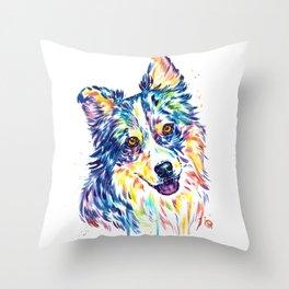 Australian Shepherd Watercolor Painting by Lisa Whitehouse Throw Pillow