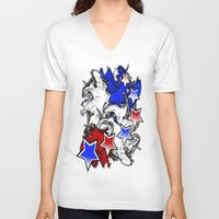 american V-neck T-shirts featuring AMERICAN  by Robleedesigns