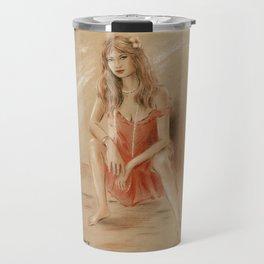 Sexy Lady in Red Dress Travel Mug