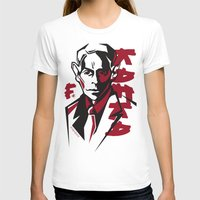 kafka T-shirts featuring Kafka portrait in Red & Black by aygeartist