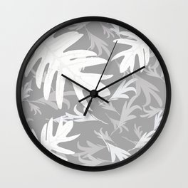 Trio palm leaves. White, silver, light-grey, tropical, autumn, fall, pattern, society6 Wall Clock