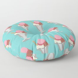 Cute Pastel Summertime Ice Cream Sundae Design Floor Pillow