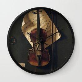Still Life with Violin by William Harnett Wall Clock