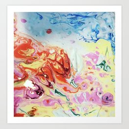 Abstract Flowers blasted with water Art Print