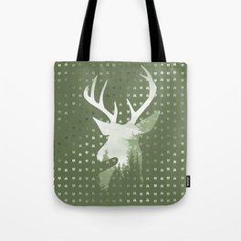 Green Deer Abstract Footprints Landscape Design Tote Bag