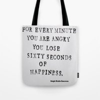 waldo Tote Bags featuring Happiness Ralph Waldo Emerson Quote by All Surfaces Design