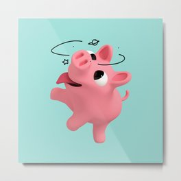 Rosa the Pig is Dizzy Metal Print