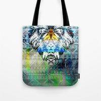 lion king Tote Bags featuring KING LION by sametsevincer
