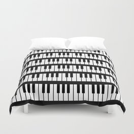 Black And White Piano Keys Pattern Duvet Cover
