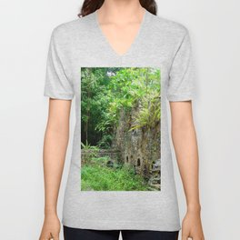 Watercolor Architecture Sugar Factory Ruins 01, Nature Reclaimed Unisex V-Neck