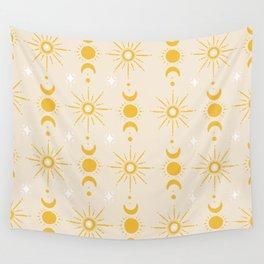 Yellow Sun & Moon Pattern Wall Tapestry
