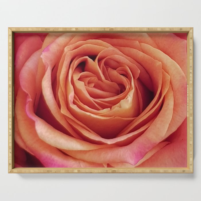 A Summer Bouquet 12 - orange rose Serving Tray