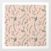 Wild flowers on pink Art Print