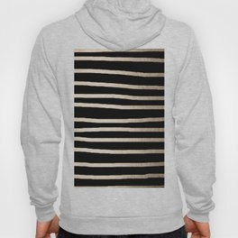 Simply Drawn Stripes White Gold Sands on Midnight Black Hoody