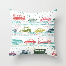 cars in the rain Throw Pillow