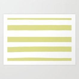 VA Lime Green - Lime Mousse - Bright Cactus Green - Celery Hand Drawn Fat Horizontal Lines on White Art Print