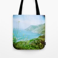 big sur Tote Bags featuring Big Sur by The Dalai Lomo