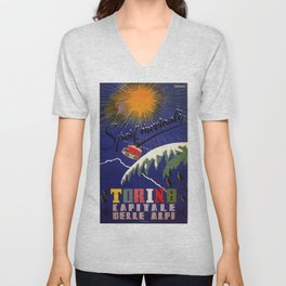 Turin Torino Italian Alps winter travel Unisex V-Neck