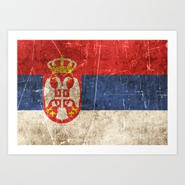 Vintage Aged and Scratched Serbian Flag Art Print