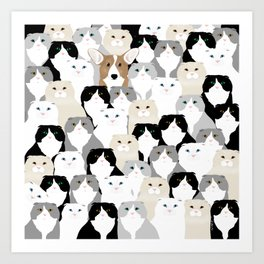 Cats and Dog Art Print