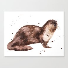 Otter, otter painting, watercolor, animal art Canvas Print