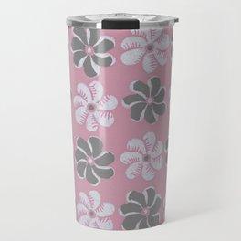 Floral design pink, Black & blue Gray  Flowers Allover Print Travel Mug