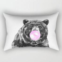 Bubble Gum Big Bear Black and White Rectangular Pillow