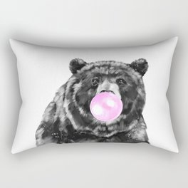 Bubble Gum Big Bear Black and White Rectangular Pillow