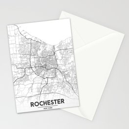 Minimal City Maps - Map Of Rochester, New York, Untited States Stationery Cards