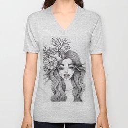 JennyMannoArt Graphite Drawing/Serena the mermaid Unisex V-Neck