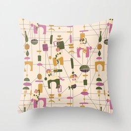 Mid Century Collection: Cowgirls Throw Pillow