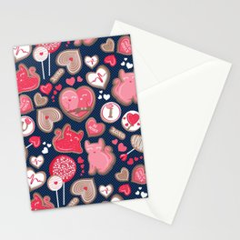 Valentine Sweetness  // navy blue background pink and red cats and candy Stationery Cards