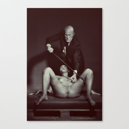 The Cane 2# Nude woman and her master Canvas Print