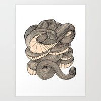 snake Art Prints featuring Snake  by AW Illustrations