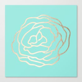 Flower in White Gold Sands on Tropical Sea Blue Canvas Print