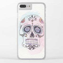 Watercolor Skull Clear iPhone Case