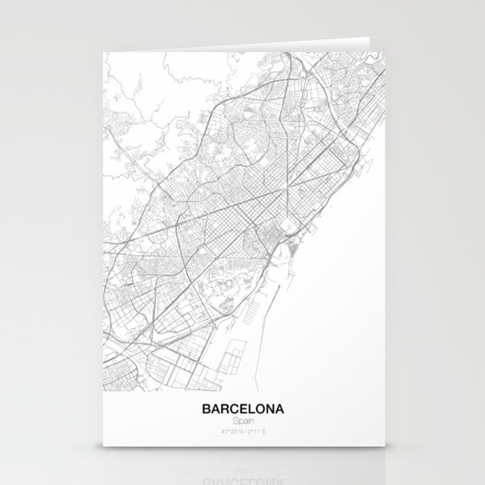 Barcelona In Spain Map.Barcelona Spain Minimalist Map Stationery Cards By Resfeber Society6