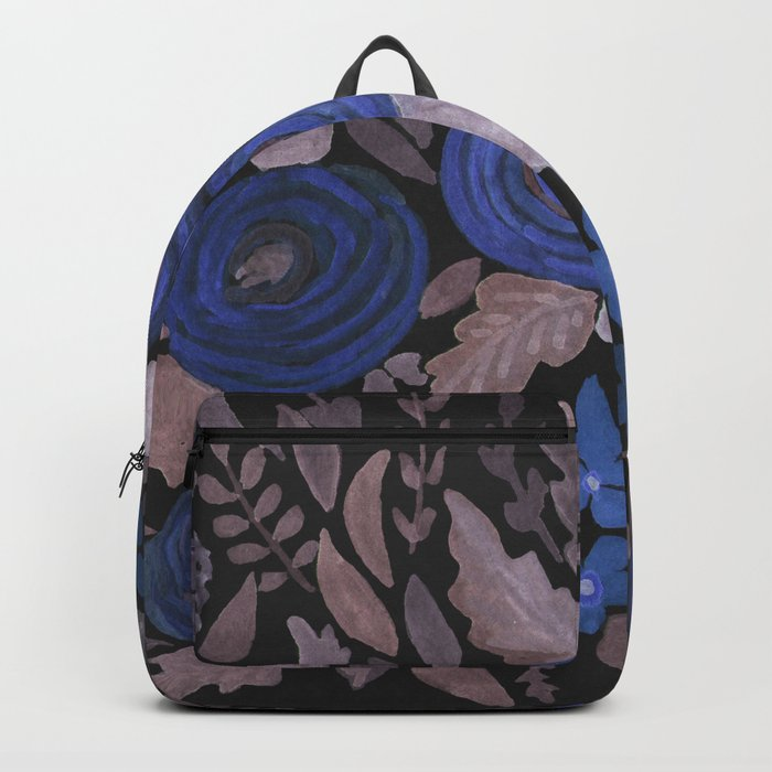 Watercolor blue flowers . The blue of the night . Backpack