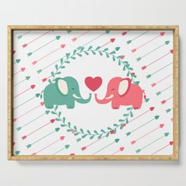 Elephant Love with Arrows Serving Tray