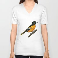 baltimore V-neck T-shirts featuring Baltimore oriole  by Alar Illustration